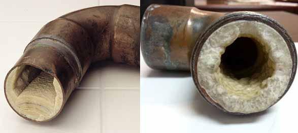 """Kavos aparatų remontas - nuotraukose matyti kaip kalkių nuosėdos """"užauga"""" ant vamzdelių sienų"""